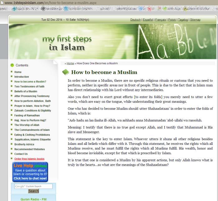 Bir İngilizce İslam sitesi nasıl Müslüman olunacağını tarif ediyor: